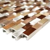 Handmuster Mosaik Fliese Aluminium Brick Aluminium 3D alu silber kupfer MOS49-0207_m