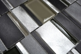 Handmuster Mosaik Fliese Aluminium Transluzent Kombination Alu Glasmosaik Crystal klar grau MOS49-0204_m