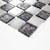 Handmuster Mosaik Fliese Aluminium Transluzent Glasmosaik Crystal Alu schachbrett schwarz silber MOS49-0302_m