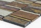 Handmuster Mosaik Fliese Kupfer grau rost kupfer Rechteck Stein Fliesenspiegel Küche MOS47-575_m