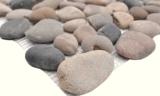 Handmuster Mosaik Fliese Flußkiesel Steinkiesel schwarz Kiesel gewölbt beige grau schwarz MOS30-1204_m