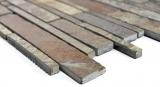 Handmuster Mosaik Fliese Schiefer Naturstein rost Brick Schiefer rustik Wandverkleidung Küchenfliese MOS34-2525_m