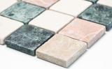 Handmuster Mosaik Fliese Marmor Naturstein creme beige rot grün Random MOS42-1204_m