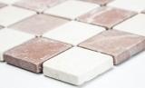 Handmuster Mosaik Fliese Marmor Naturstein rot beige schachbrett Rosso Verona Botticino Anticato MOS42-1004_m