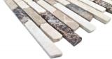 Handmuster Mosaik Fliese Marmor Naturstein beige braun Brick Castanao Biancone MOS40-0195_m