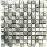 Mosaikfliese Transluzent silber Glasmosaik Crystal Resin silber Struktur MOS83-CB33
