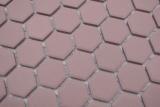 Keramik Mosaik Hexagon klinkerrot R10B Duschtasse Bodenfliese Mosaikfliese  Küche Bad Boden MOS11H-0900-R10_m