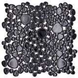 Kieselmosaik Pebbles Keramik schwarz Spots Duschtasse Fliesenspiegel MOS12-0302_f | 10 Mosaikmatten