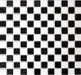 Mosaikfliese Keramik Schachbrett schwarz weiß glänzend Fliesenspiegel MOS18-0306_f