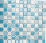 Schwimmbadmosaik Mosaikfliese Keramik blau weiss glänzend Duschwand MOS18-0407_f