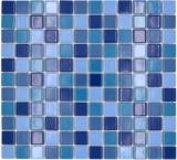 Mosaikfliese Keramikmosaik blau grün türkis glänzend Fliesenspiegel MOS18-0408_f