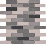 Mosaik Fliese Keramik hellbeige grau Brick unglasiert Duschtasse Bodenfliese MOS26-0206-R10_f