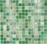Mosaikfliese Glas Goldensilk grün Wandfliesen Badfliese Duschrückwand Fliesenspiegel MOS54-0504_f | 10 Mosaikmatten
