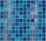 Mosaikfliese Transluzent strichblau Glasmosaik Crystal strichblau MOS64-0409_f | 10 Mosaikmatten