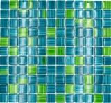 Mosaikfliese Transluzent strichgrün Glasmosaik Crystal strichgrün MOS74-0509_f | 10 Mosaikmatten