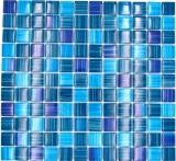 Mosaikfliese Transluzent strichblau Glasmosaik Crystal strichblau MOS74-0409_f | 10 Mosaikmatten