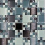 Mosaikfliese Transluzent grau schwarz Kombination Glasmosaik Crystal grau schwarz grau matt MOS78-0204_f | 10 Mosaikmatten