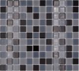 Mosaikfliese Transluzent schwarz Glasmosaik Crystal schwarz BAD WC Küche WAND MOS62-0208_f | 10 Mosaikmatten