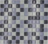 Mosaikfliese Transluzent grau Glasmosaik Crystal grau BAD WC Küche WAND MOS72-0204_f | 10 Mosaikmatten
