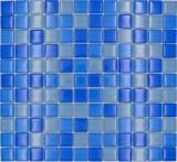 Mosaikfliese Transluzent hellblau Glasmosaik Crystal hellblau BAD WC Küche WAND MOS72-0406_f | 10 Mosaikmatten