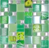 Transparentes Crystal Mosaik Glasmosaik silber grün Wand Fliesenspiegel Küche Dusche Bad_f | 10 Mosaikmatten