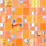 Transparentes Crystal Mosaik Glasmosaik silber Orange Wand Fliesenspiegel Küche Dusche Bad_f | 10 Mosaikmatten