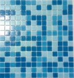 Schwimmbadmosaik Poolmosaik Aktion blau Mix vorderseitig Papier verklebt - MOS52-0402