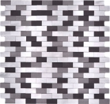 Mosaik Rückwand Aluminium Brick 3D alu silber schwarz MOS49-0208_f