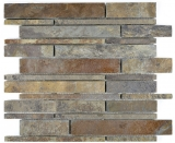 Mosaik Fliese Schiefer Naturstein rost Brick Schiefer rustik Wandverkleidung Küchenfliese MOS34-2525_f