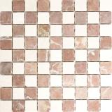 Mosaik Fliese Marmor Naturstein rot beige schachbrett Rosso Verona Botticino Anticato MOS42-1004_f