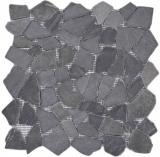 Mosaik Fliese Marmor Naturstein schwarz Bruch Ciot Neromarquina MOS44-30-120_f