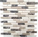 Mosaik Fliese Marmor Naturstein beige braun Brick Castanao Biancone MOS40-0195_f