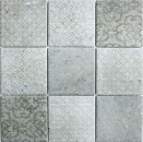 XNT 47023 Mosaikfliese Quadrat silver silber Antique Travertine| 1 Bogen